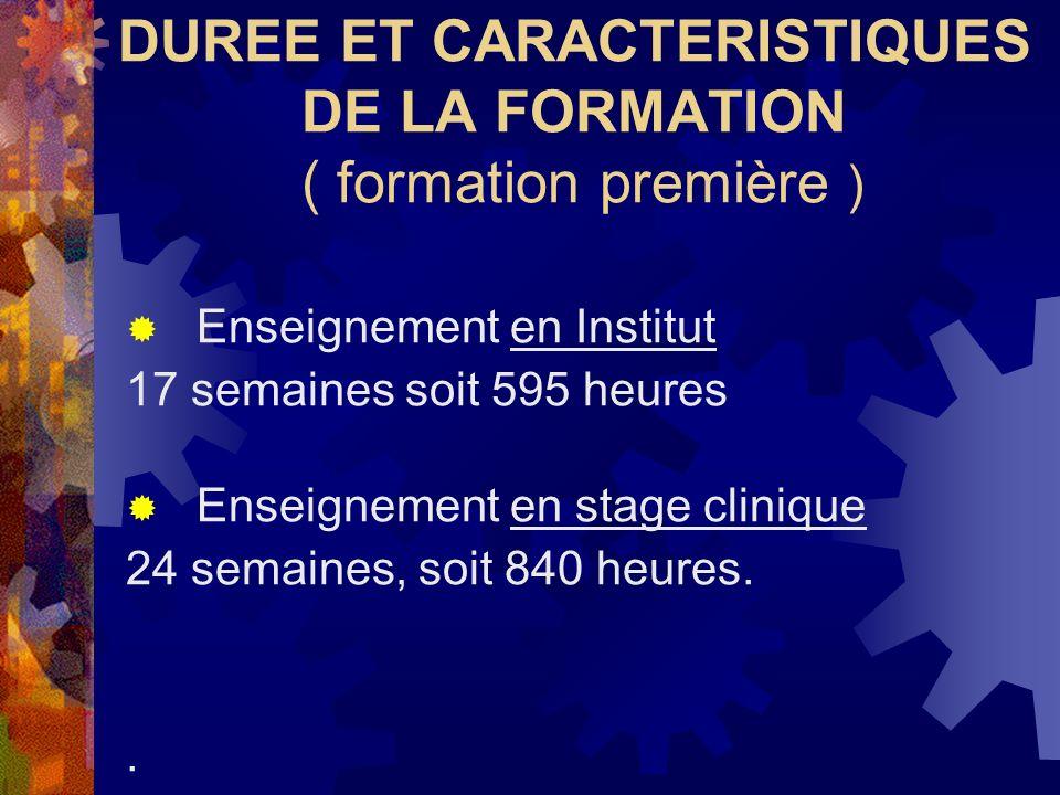 DUREE ET CARACTERISTIQUES DE LA FORMATION ( formation première )