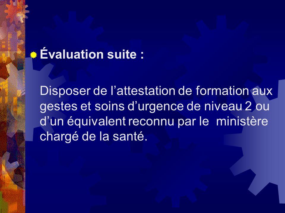 Évaluation suite :