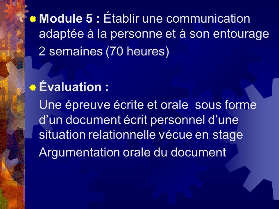 Module 5 : Établir une communication adaptée à la personne et à son entourage