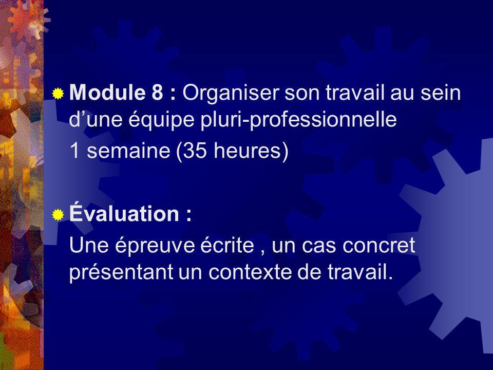 Module 8 : Organiser son travail au sein d'une équipe pluri-professionnelle