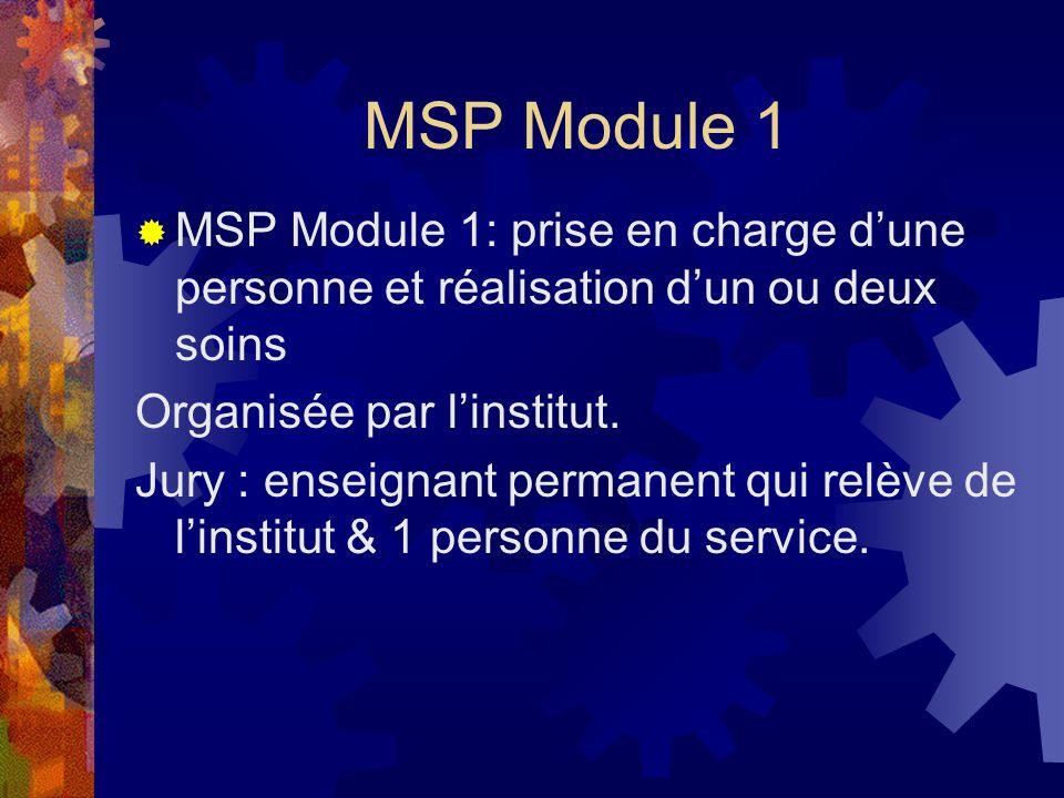 MSP Module 1 MSP Module 1: prise en charge d'une personne et réalisation d'un ou deux soins. Organisée par l'institut.