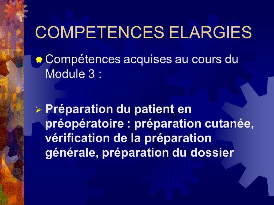 COMPETENCES ELARGIES Compétences acquises au cours du Module 3 :