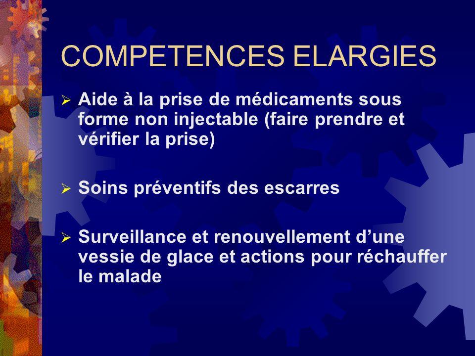 COMPETENCES ELARGIES Aide à la prise de médicaments sous forme non injectable (faire prendre et vérifier la prise)