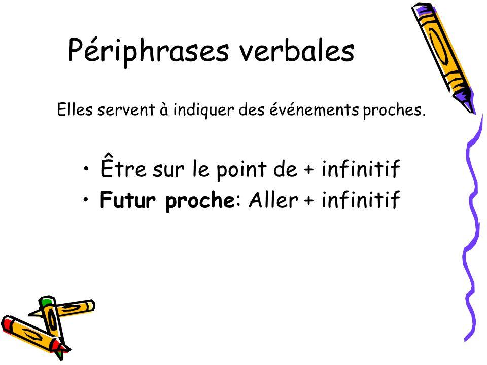 Périphrases verbales Être sur le point de + infinitif