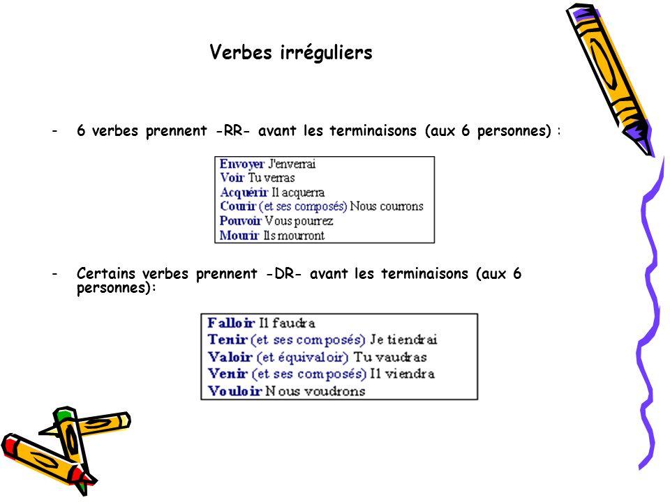 Verbes irréguliers 6 verbes prennent -RR- avant les terminaisons (aux 6 personnes) :