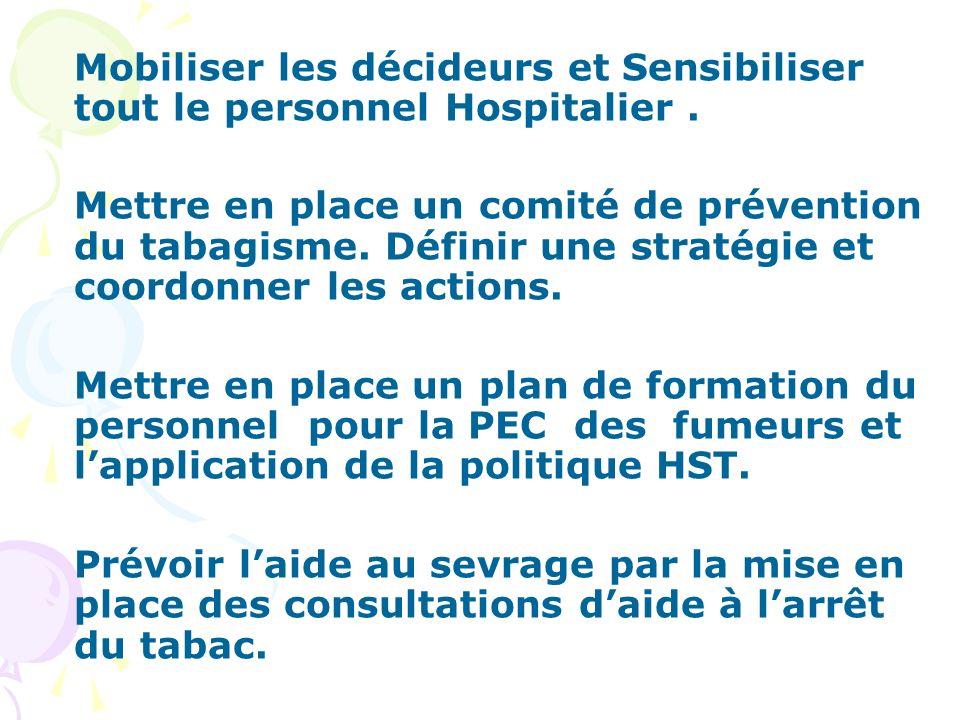 Mobiliser les décideurs et Sensibiliser tout le personnel Hospitalier .