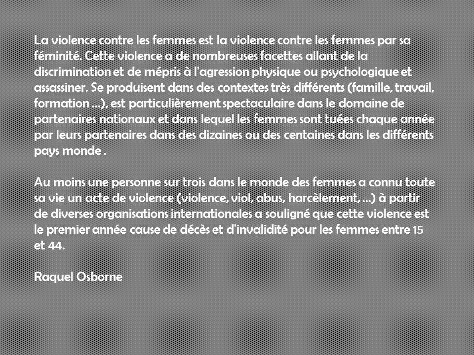 La violence contre les femmes est la violence contre les femmes par sa féminité.