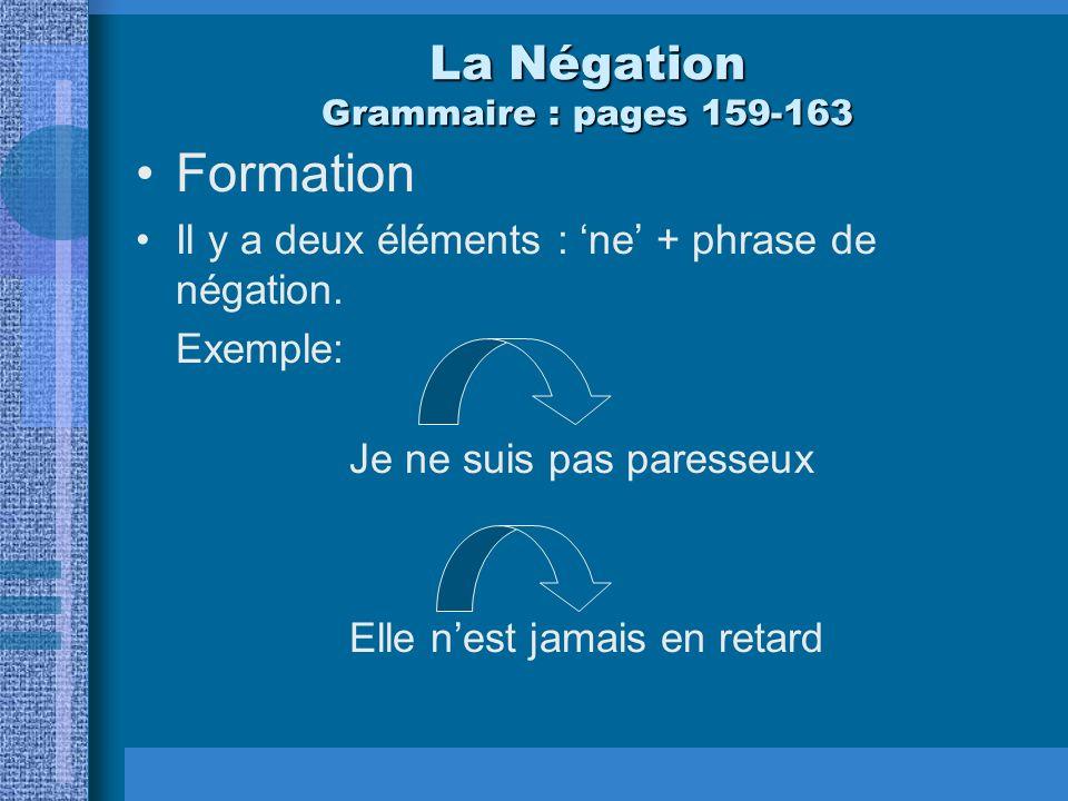 La Négation Grammaire : pages 159-163