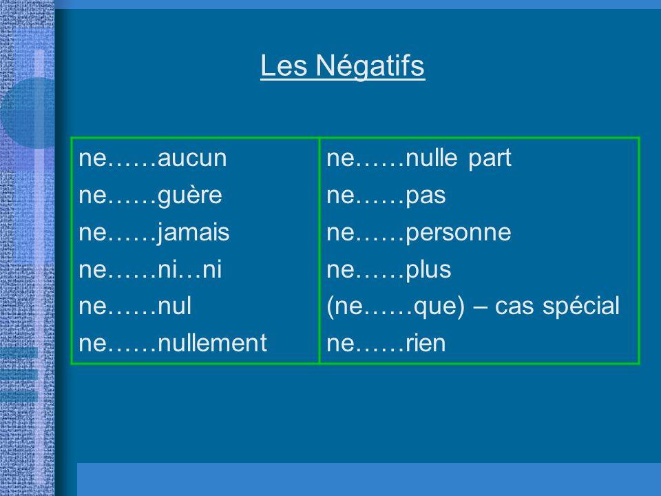 Les Négatifs ne……aucun ne……guère ne……jamais ne……ni…ni ne……nul