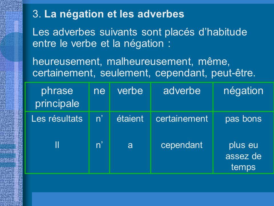 3. La négation et les adverbes