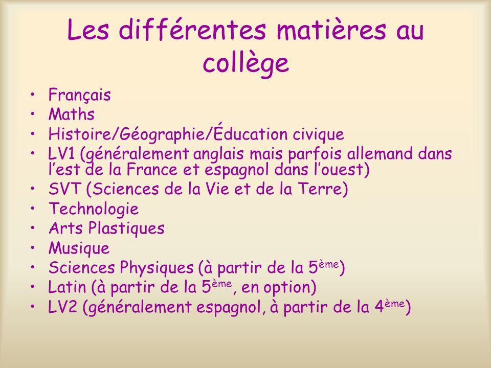 Les différentes matières au collège