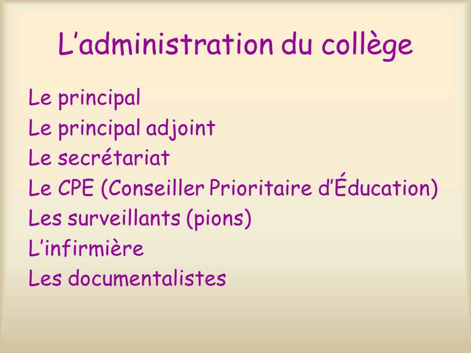 L'administration du collège