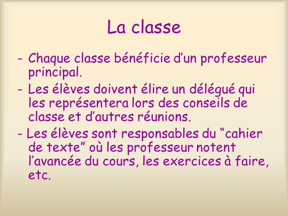La classe Chaque classe bénéficie d'un professeur principal.