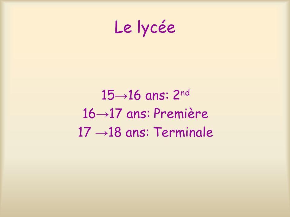 Le lycée 15→16 ans: 2nd 16→17 ans: Première 17 →18 ans: Terminale