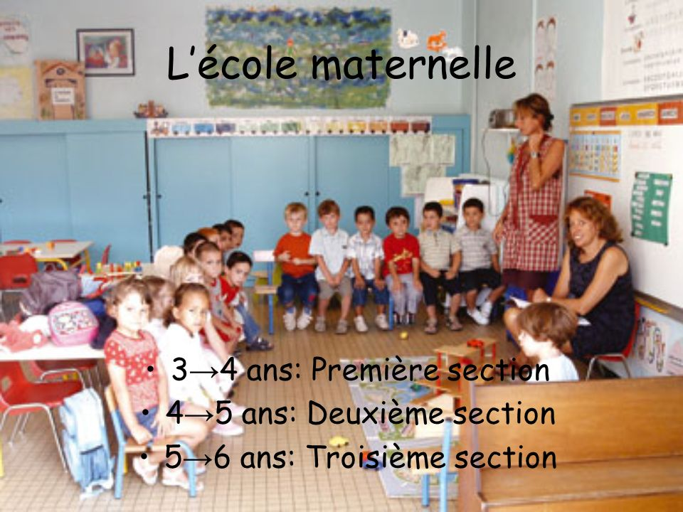 L'école maternelle 3→4 ans: Première section 4→5 ans: Deuxième section