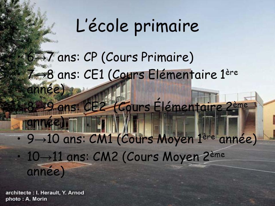 L'école primaire 6→7 ans: CP (Cours Primaire)