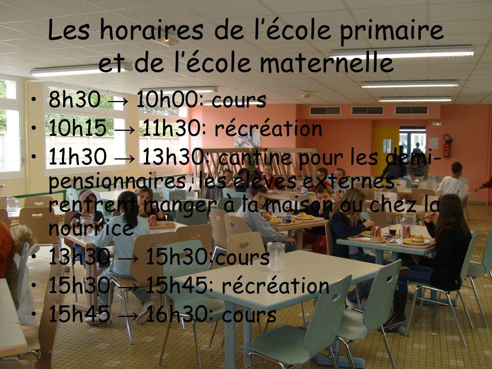 Les horaires de l'école primaire et de l'école maternelle