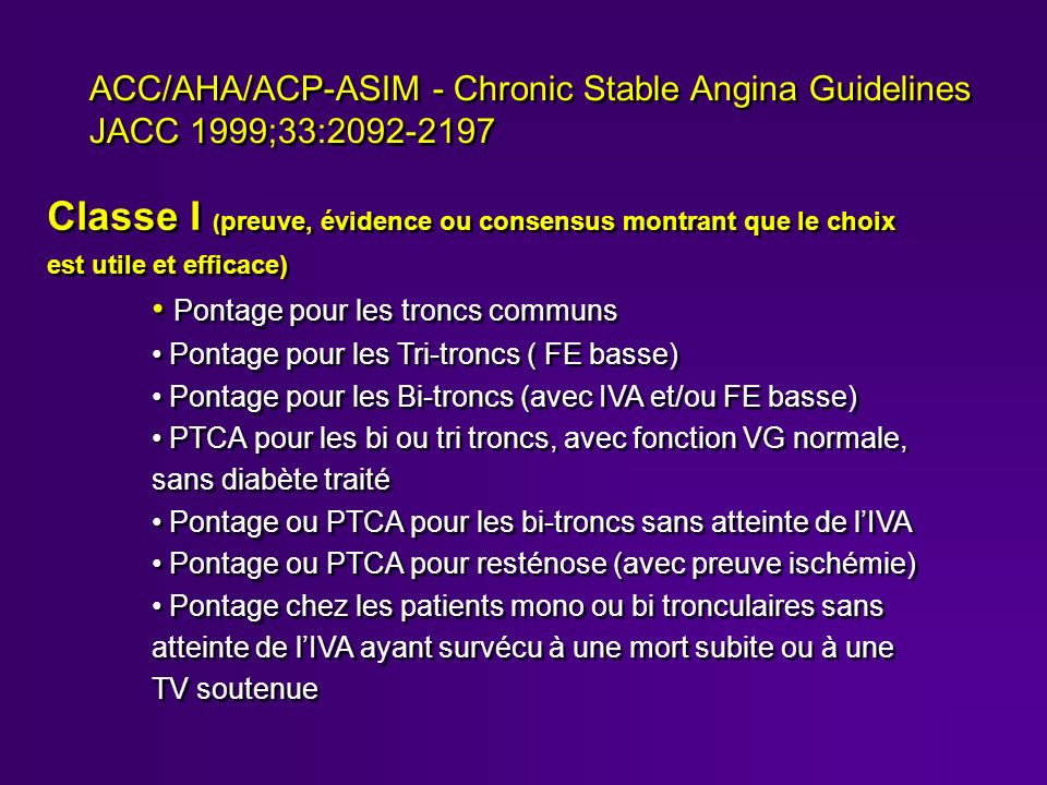ACC/AHA/ACP-ASIM - Chronic Stable Angina Guidelines