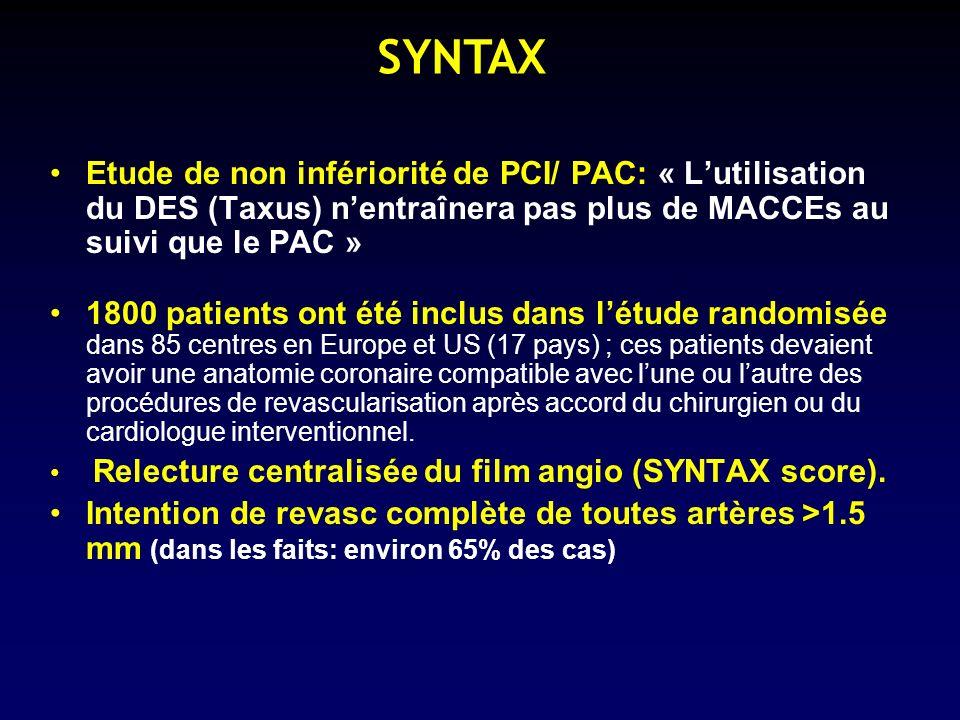 SYNTAX Etude de non infériorité de PCI/ PAC: « L'utilisation du DES (Taxus) n'entraînera pas plus de MACCEs au suivi que le PAC »