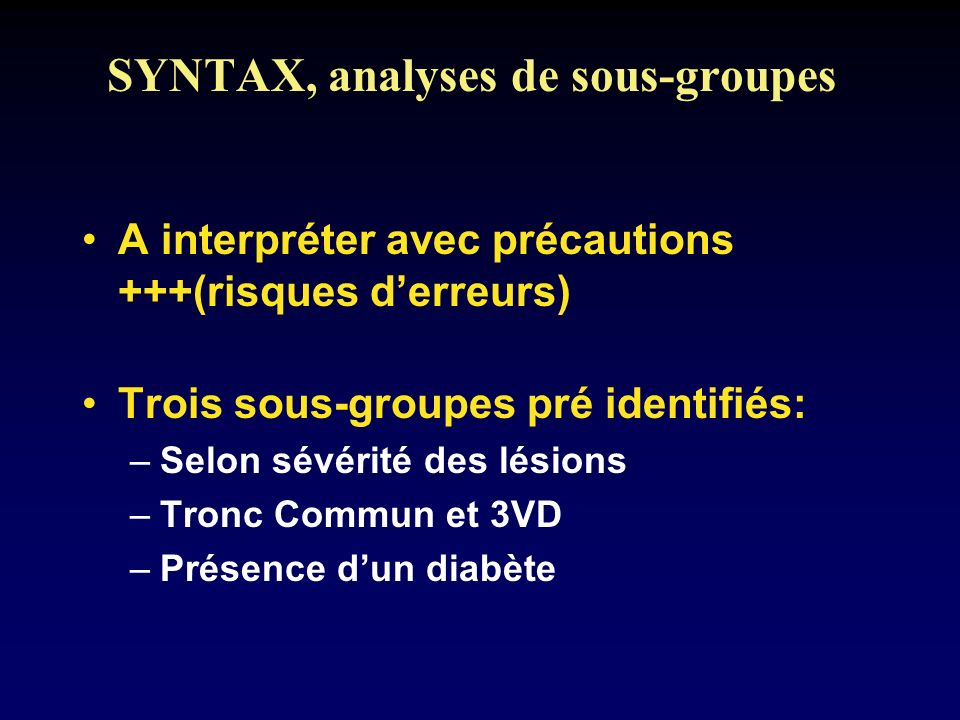 SYNTAX, analyses de sous-groupes