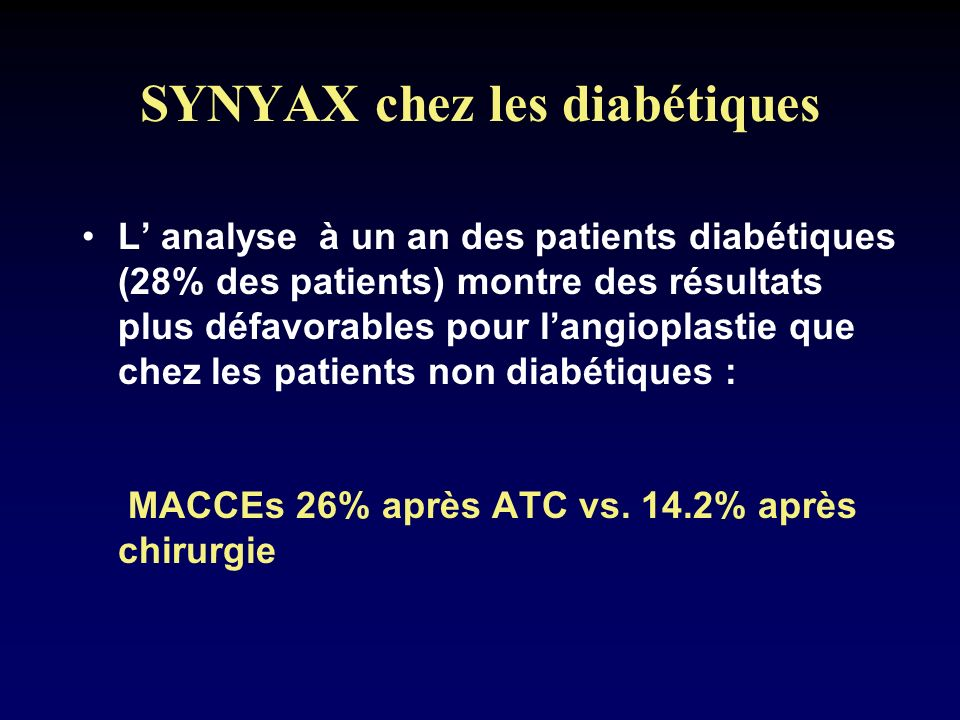 SYNYAX chez les diabétiques