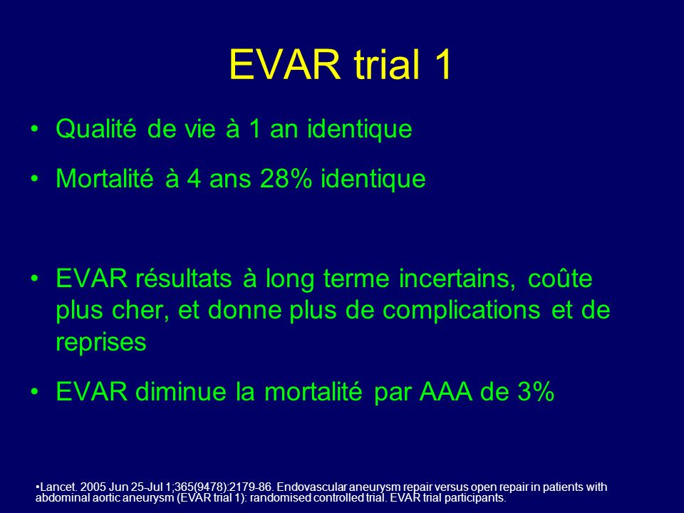 EVAR trial 1 Qualité de vie à 1 an identique
