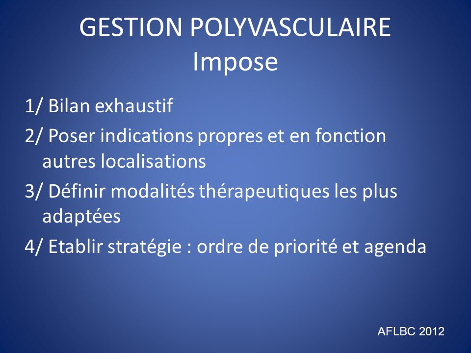 GESTION POLYVASCULAIRE Impose