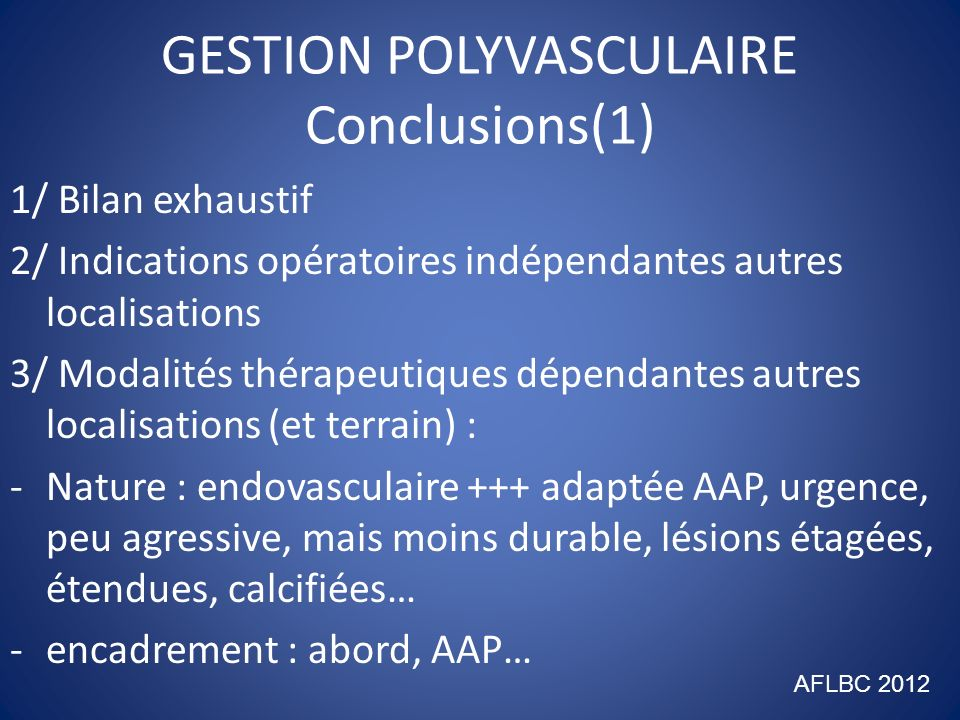 GESTION POLYVASCULAIRE Conclusions(1)