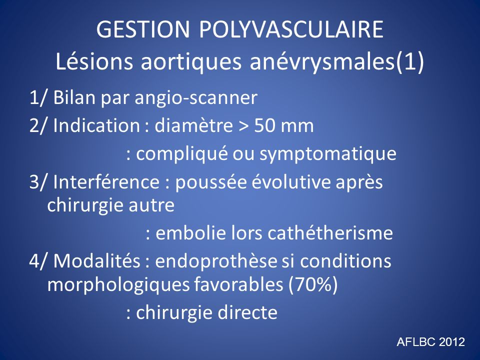 GESTION POLYVASCULAIRE Lésions aortiques anévrysmales(1)