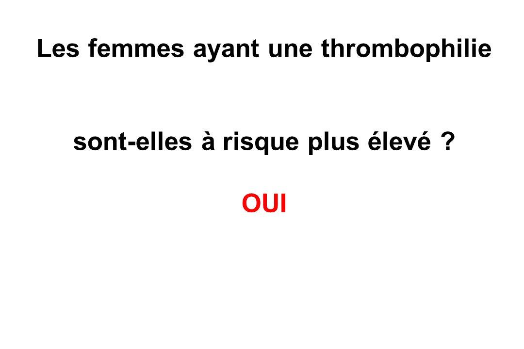 Les femmes ayant une thrombophilie sont-elles à risque plus élevé OUI