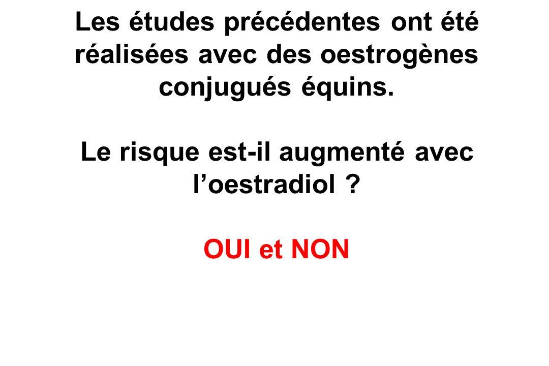 Les études précédentes ont été réalisées avec des oestrogènes conjugués équins.