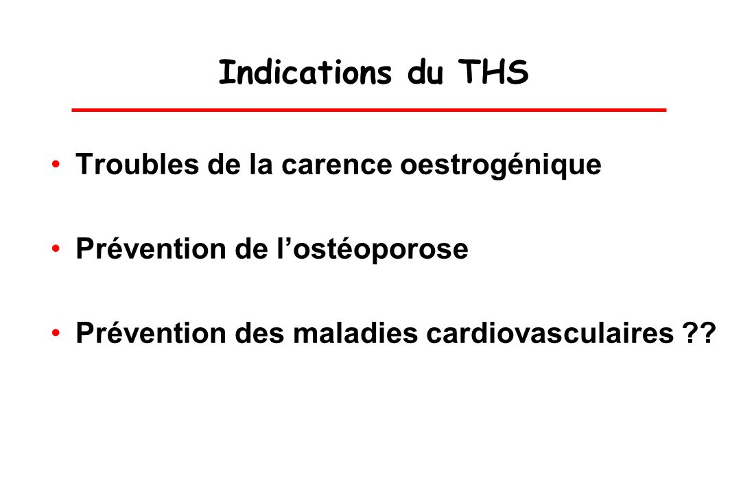 Indications du THS Troubles de la carence oestrogénique