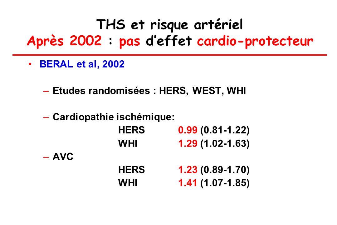 THS et risque artériel Après 2002 : pas d'effet cardio-protecteur
