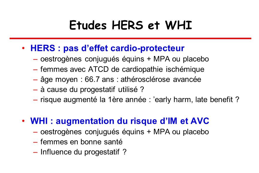Etudes HERS et WHI HERS : pas d'effet cardio-protecteur