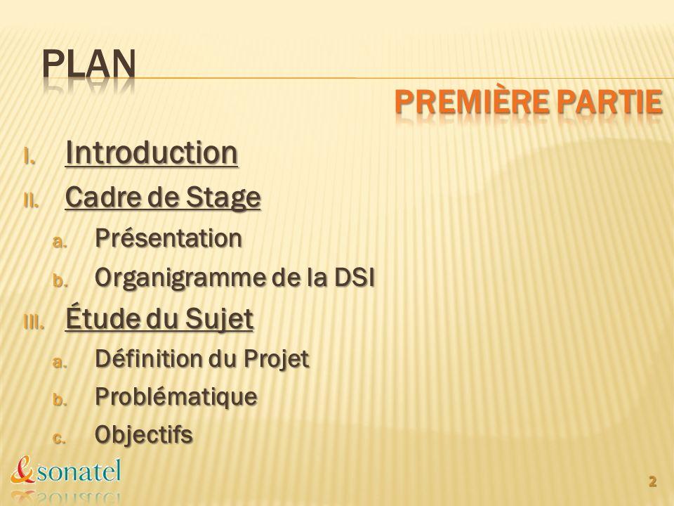 PLAN Première partie Introduction Cadre de Stage Étude du Sujet
