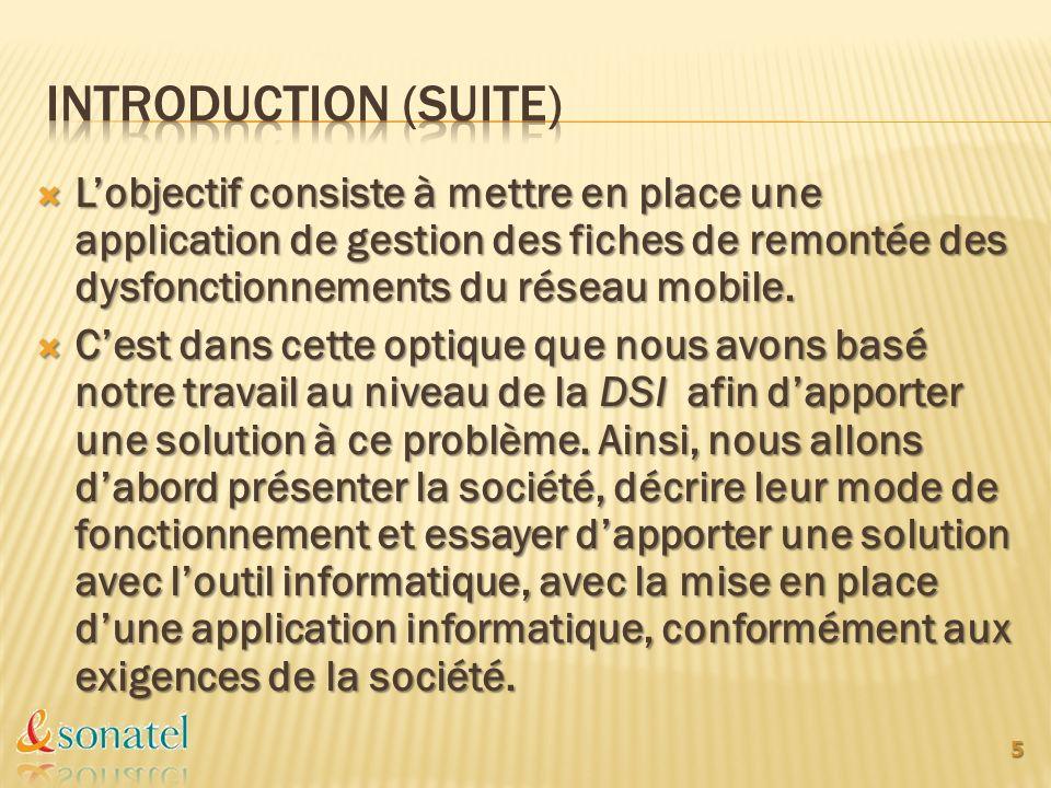 INTRODUCTION (Suite) L'objectif consiste à mettre en place une application de gestion des fiches de remontée des dysfonctionnements du réseau mobile.