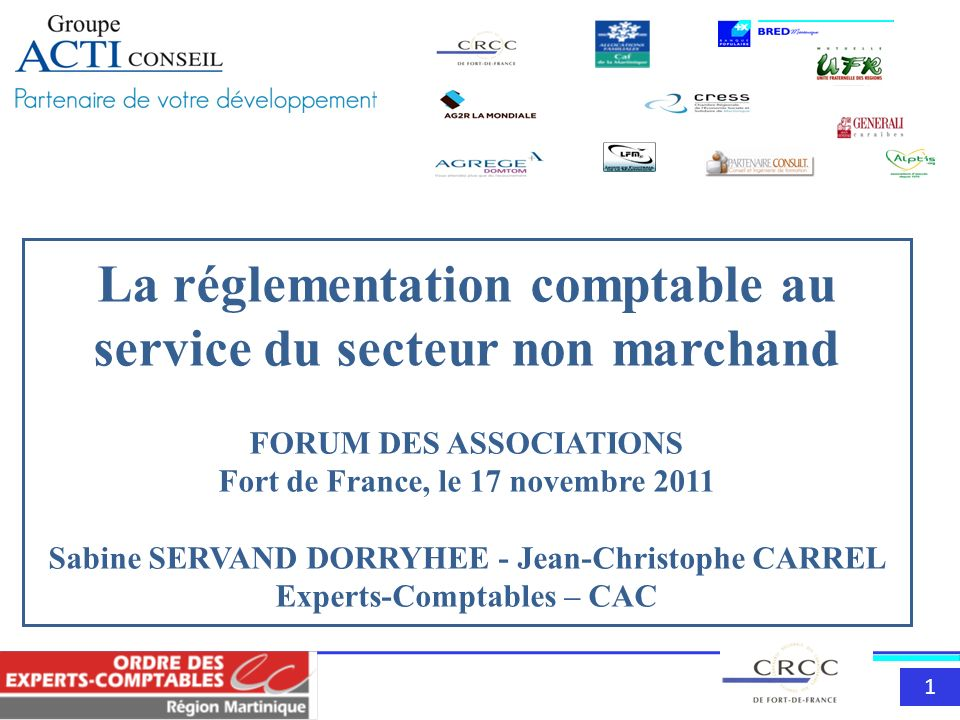 La réglementation comptable au service du secteur non marchand FORUM DES ASSOCIATIONS Fort de France, le 17 novembre 2011 Sabine SERVAND DORRYHEE - Jean-Christophe CARREL Experts-Comptables – CAC