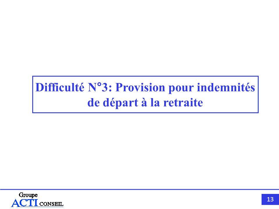 Difficulté N°3: Provision pour indemnités de départ à la retraite