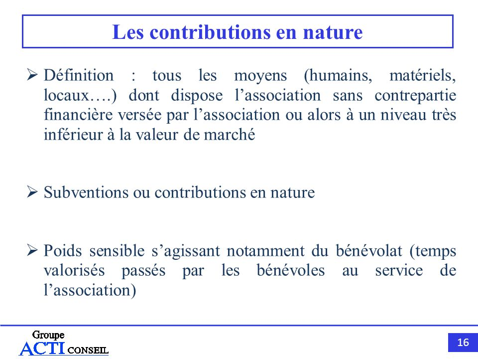 Les contributions en nature