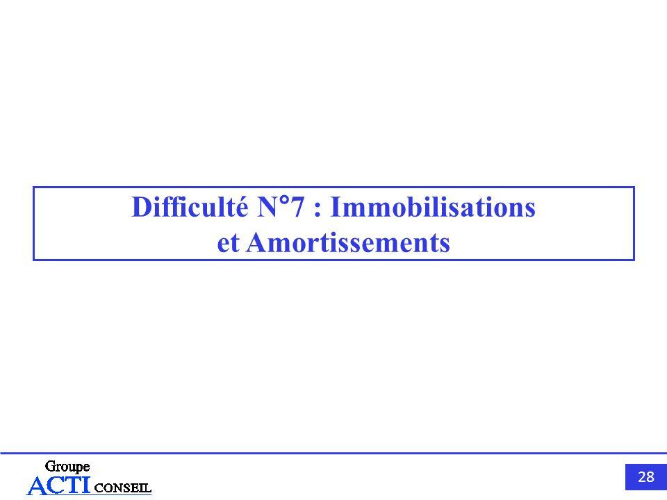 Difficulté N°7 : Immobilisations et Amortissements