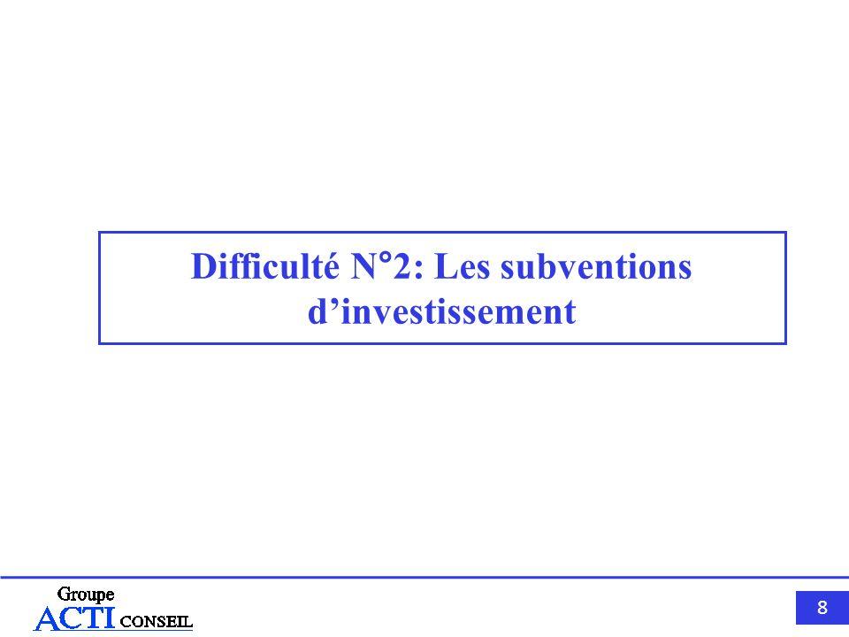 Difficulté N°2: Les subventions d'investissement