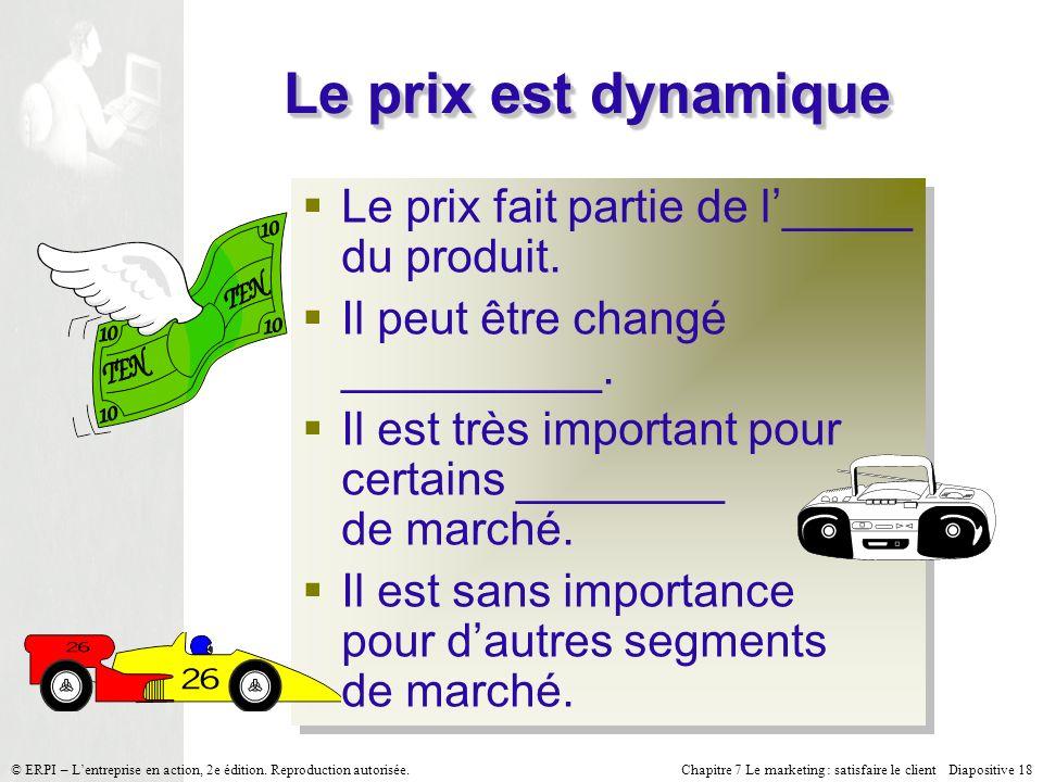 Le prix est dynamique Le prix fait partie de l'_____ du produit.