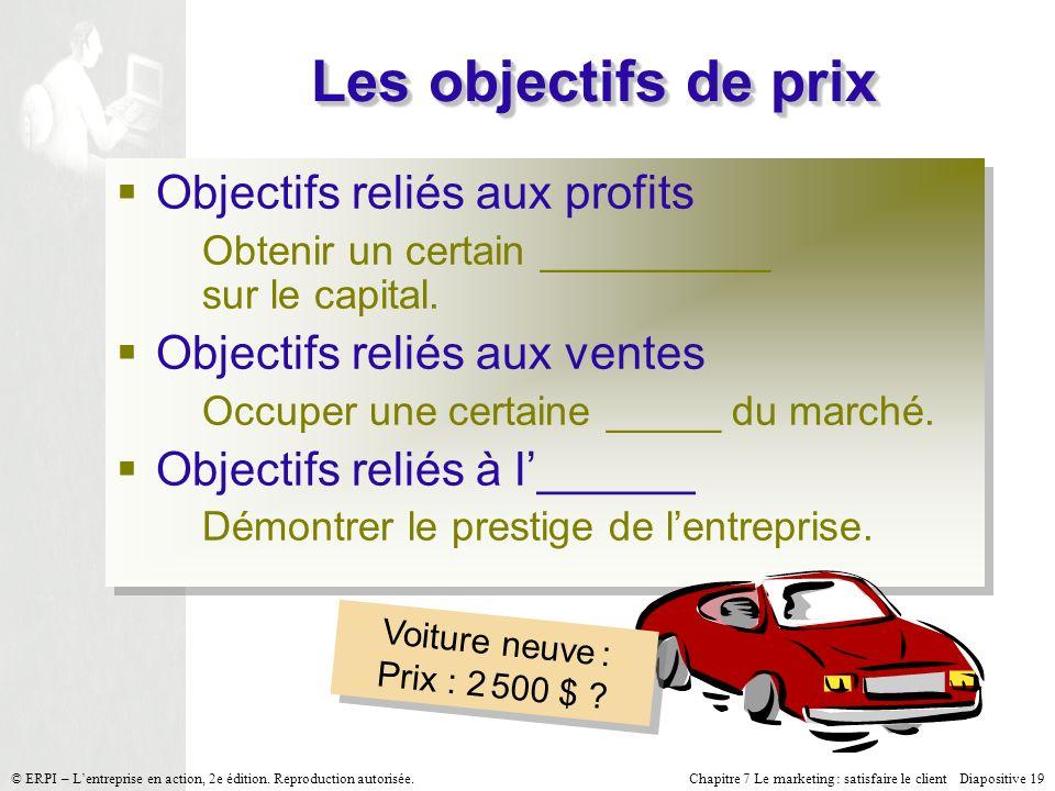 Les objectifs de prix Objectifs reliés aux profits