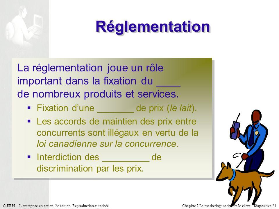 Réglementation La réglementation joue un rôle important dans la fixation du ____ de nombreux produits et services.