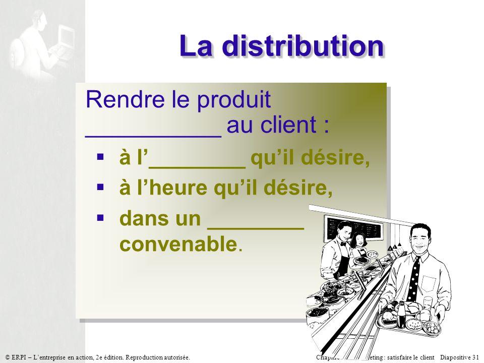 La distribution Rendre le produit __________ au client :