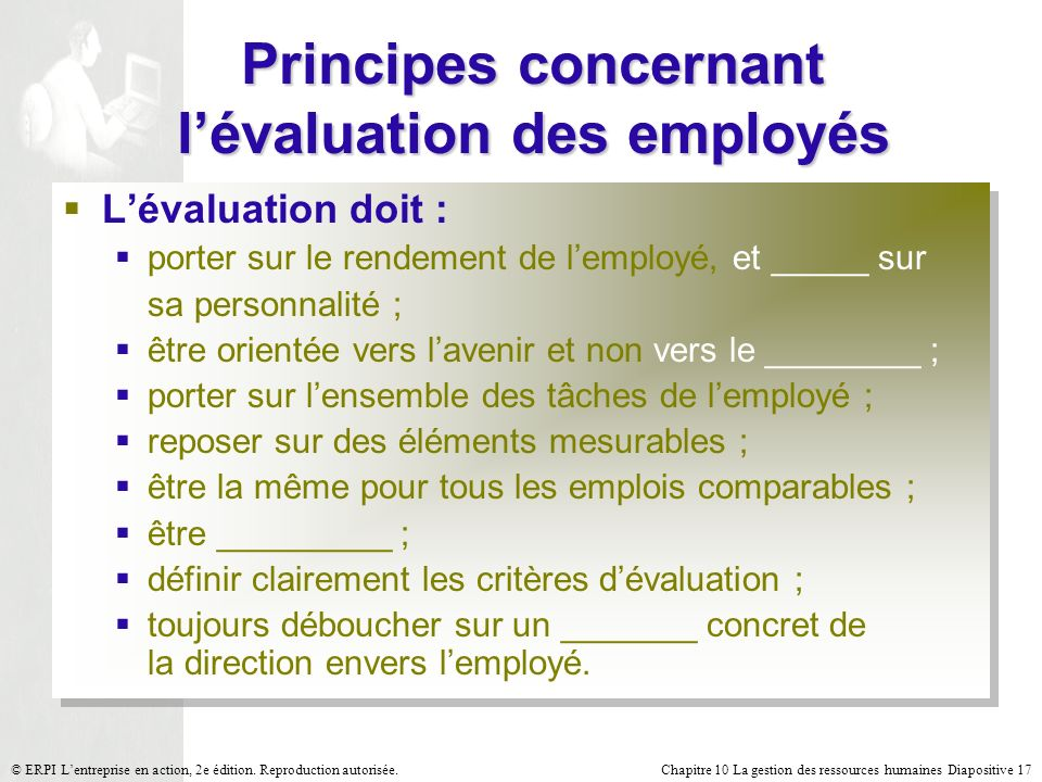 Principes concernant l'évaluation des employés