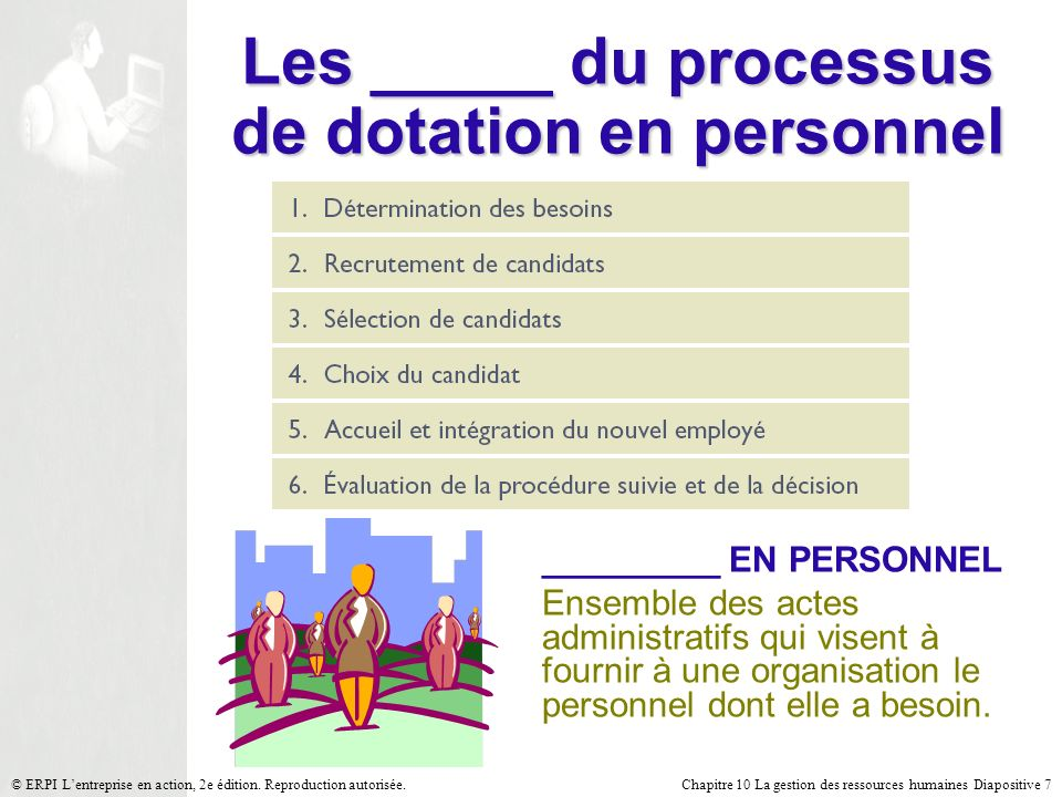 Les _____ du processus de dotation en personnel