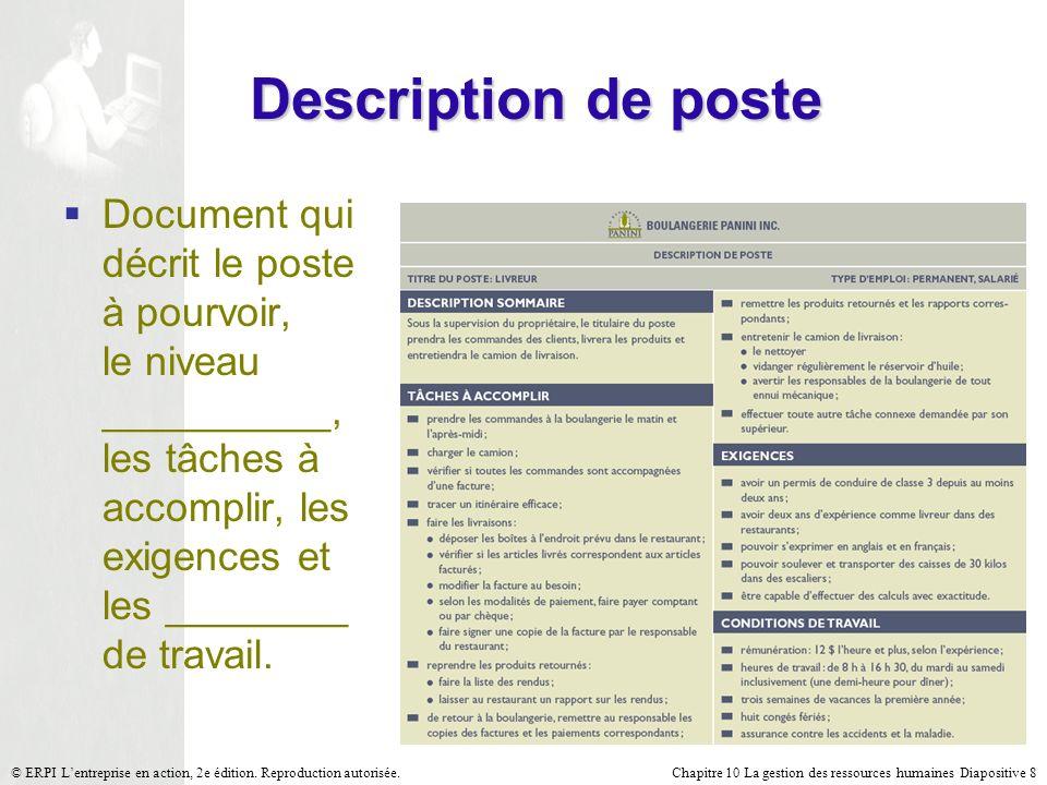 Description de poste