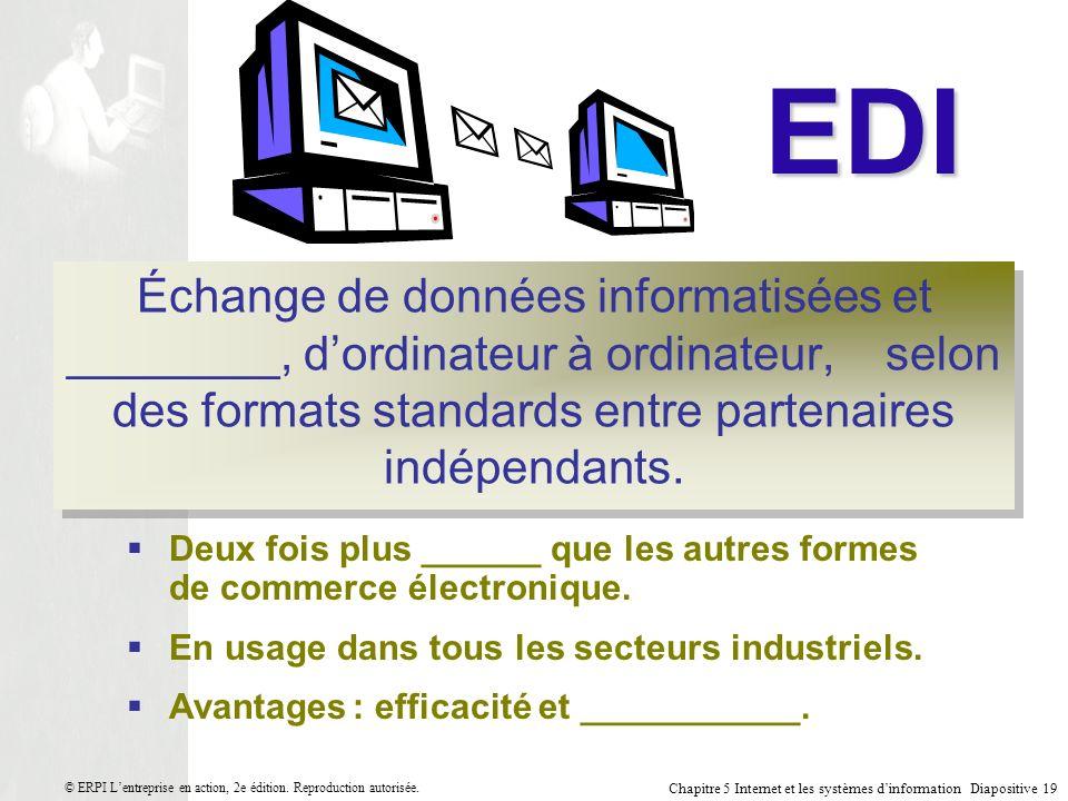 EDI Échange de données informatisées et ________, d'ordinateur à ordinateur, selon des formats standards entre partenaires indépendants.