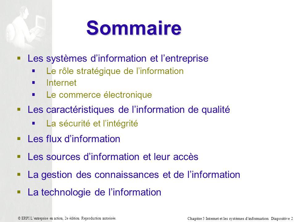 Sommaire Les systèmes d'information et l'entreprise
